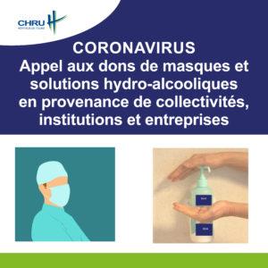[CORONAVIRUS] - Appel aux dons de masques et solutions hydroalcooliques en provenance de collectivités, institutions et entreprises
