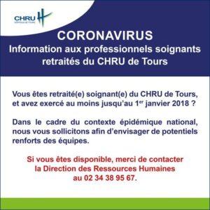 CORONAVIRUS - Information aux professionnels soignants retraités du CHRU de Tours