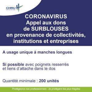 [CORONAVIRUS] APPEL AUX DONS DE SURBLOUSES EN PROVENANCE DE COLLECTIVITES, INSTITUTIONS ET ENTREPRISES