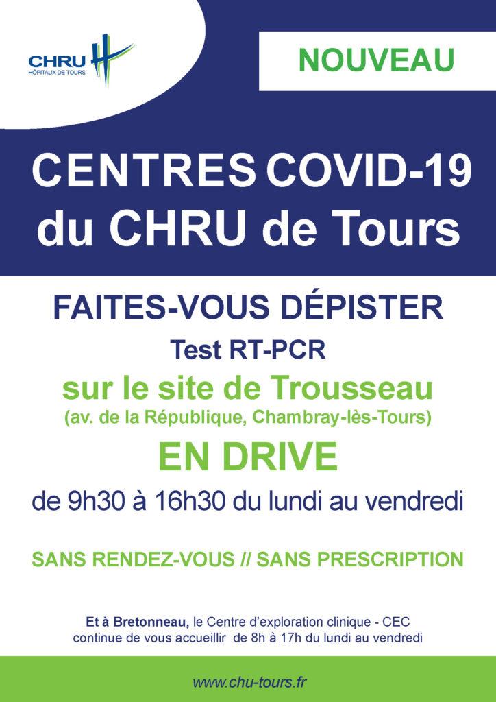 Nouveau : Centres COVID-19 du CHRU de Tours : Faites-vous dépister à Trousseau