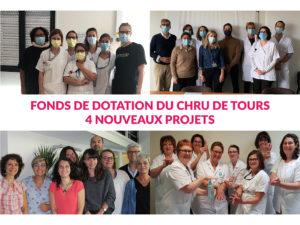 Le Fonds de dotation du CHRU de Tours dévoile donc 4 nouveaux projets sélectionnés par le Conseil d'administration du Fonds de dotation du CHRU de Tours début mars.