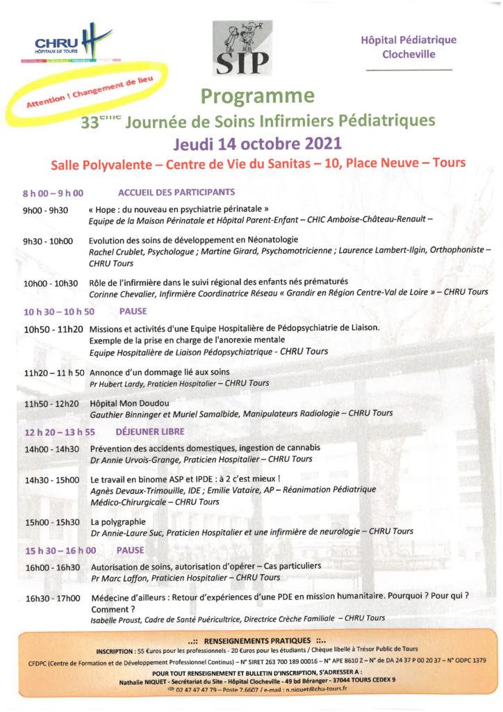 Programme 33ème journée de Soins Infirmiers Pédiatriques